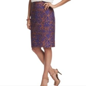 LOFT Blue & Tan Paisley Floral Print Pencil Skirt
